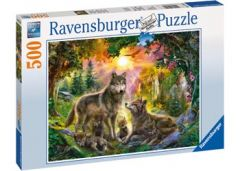 RAVENSBURGER 500PC JIGSAW PUZZLE WOLF FAMILY IN THE SUNSHINE
