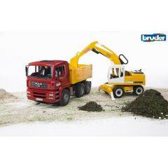 BRUDER CONSTRUCTION TRUCK WITH LIEBHERR EXCAVATOR