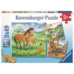 RAVENSBURGER 3 X 49 PIECE JIGSAW PUZZLES - CUDDLE TIME