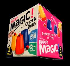 HAPPY MAGIC MINI TRICK BOX - CUPS & BALLS