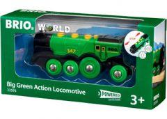 BRIO WOODEN RAILWAY BIG GREEN ACTION LOCOMOTIVE