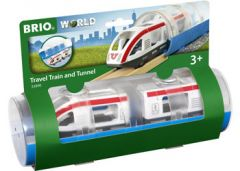 BRIO WORLD WOODEN TRAVEL TRAIN AND TUNNEL
