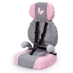 BAYER DELUXE DOLL CAR BOOSTER SEAT GREY/PINK W BUTTERFLY