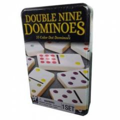 DOUBLE NINE DOMINOES IN A TIN