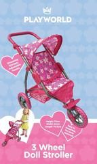 PLAYWORLD 3 WHEELED DOLL STROLLER PINK WITH FLOWERS