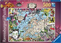 RAVENSBURGER 500PC JIGSAW PUZZLE EUROPEAN MAP QUIRKY CIRCUS