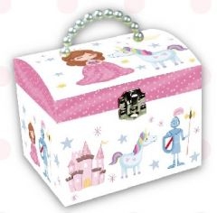 LARGE PEARL HANDLE MUSICAL JEWELRY BOX