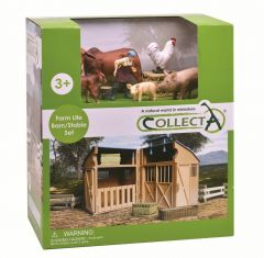 COLLECTA FARM LIFE BARN/STABLE SET WITH ACCESSORIES