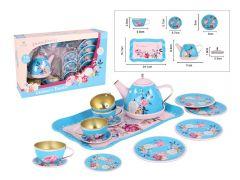PRETTY FLOWERS TIN TEA SET 15PC