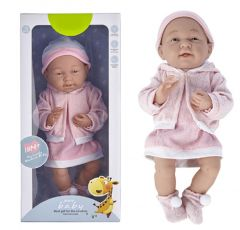 PURE BABY REAL TO TOUCH 40CM BABY DOLL WITH PINK CLOTHES