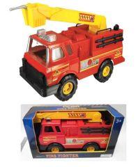 """STEEL RODER RED METAL FIRE TRUCK 17"""""""