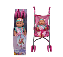 """DREAM COLLECTION 12"""" BABY DOLL WITH STROLLER SET"""