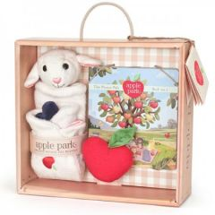 APPLE PARK ORGANIC LAMBY BLANKIE, BOOK & RATTLE GIFT CRATE