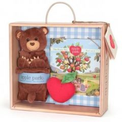 APPLE PARK ORGANIC CUBBY BEAR BLANKIE,BOOK & RATTLE GIFT CRATE