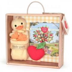 APPLE PARK ORGANIC DUCKY BLANKIE, BOOK & RATTLE GIFT CRATE