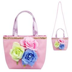PINK POPPY INTO THE WOODS FLOWER HANDBAG PALE PINK
