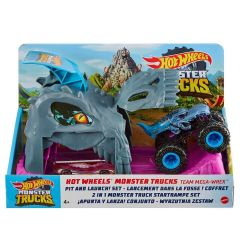 HOT WHEELS MONSTER TRUCKS PIT & LAUNCH PLAYSET TEAM MEGA-WREX