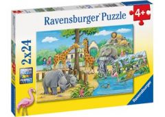 RAVENSBURGER WELCOME TO THE ZOO 2X24PCE JIGSAW PUZZLE