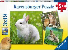 RAVENSBURGER 3 X 49 JIGSAW PUZZLE - CUTE BUNNIES