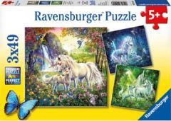 RAVENSBURGER 3 X 49 PIECE JIGSAW PUZZLES BEAUTIFUL UNICORNS