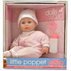DOLLS WORLD LITTLE POPPET 38CM DELUXE SOFT BODIED DOLL