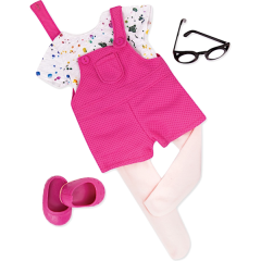 OUR GENERATION OUTFIT A SPLASH OF FUN OVERALLS WITH T-SHIRT