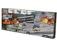 """BATTLE ZONE 31"""" ELECTRONIC FLEET COMMAND AIRCRAFT CARRIER WITH 4 DIECAST FIGHTERS"""